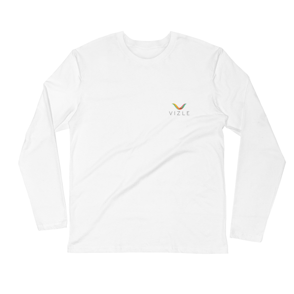 VIZLE LONG SLEEVE FITTED CREW WHITE