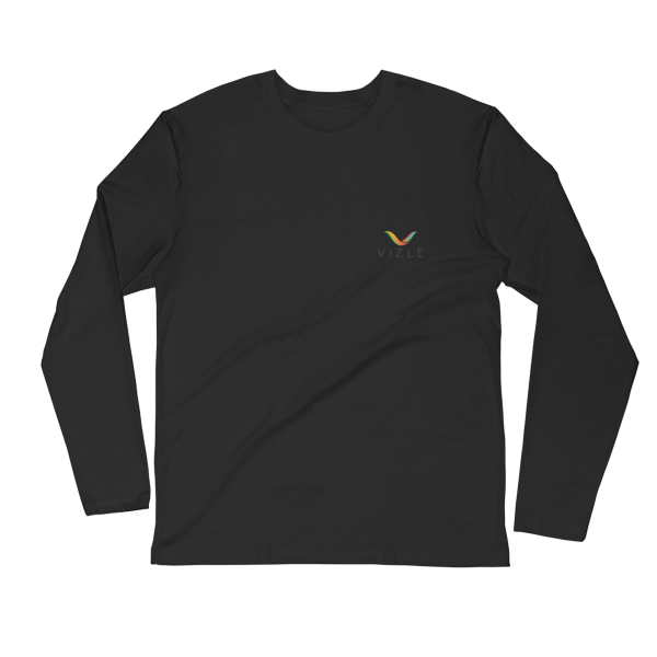 VIZLE LONG SLEEVE FITTED CREW BLACK