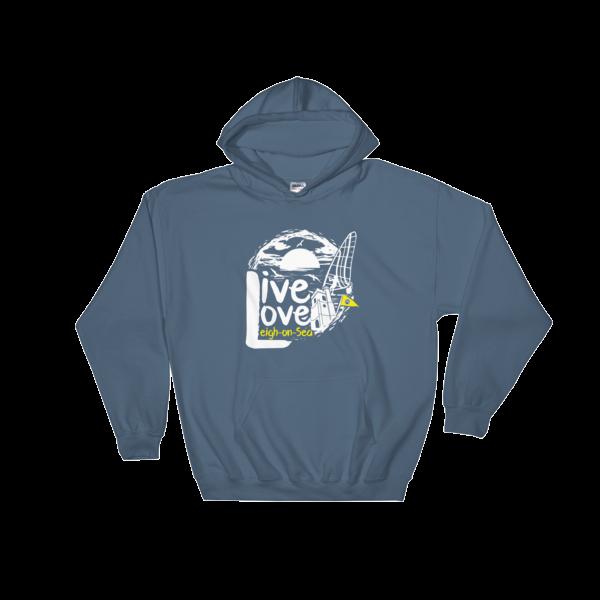LIVE, LOVE, LEIGH-ON-SEA HOODED SWEATSHIRT INDIGO BLUE