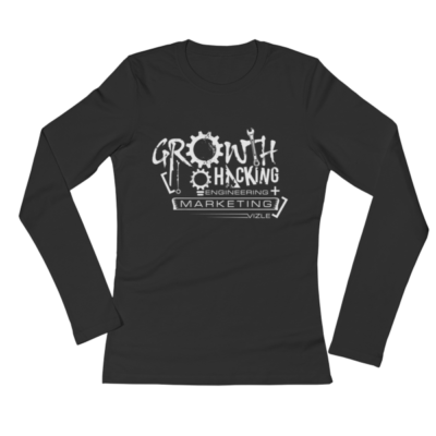 Growth Hacking = Engineering + Marketing Ladies' Long Sleeve T-Shirt (Black)
