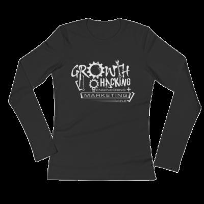 Growth Hacking = Engineering + Marketing Ladies' Long Sleeve T-Shirt (Black)
