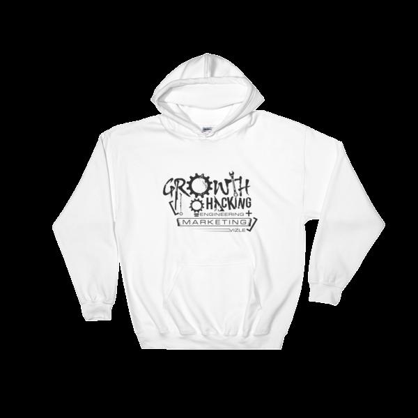 """Growth Hacking = Engineering + Marketing"" Hooded Sweatshirt (White)"
