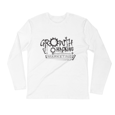 """Growth Hacking = Engineering + Marketing"" Long Sleeve Fitted Crew (White)"