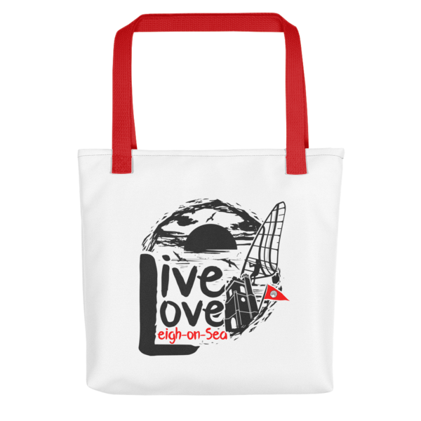 Live, Love, Leigh-on-Sea Tote Bag (Red Handle)