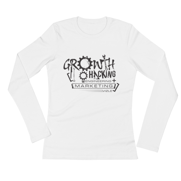 Growth Hacking = Engineering + Marketing Ladies' Long Sleeve T-Shirt (White)