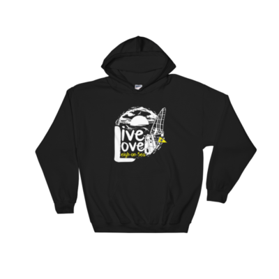 LIVE, LOVE, LEIGH-ON-SEA HOODED SWEATSHIRT BLACK