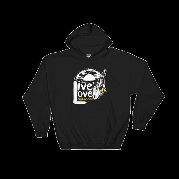 LIVE, LOVE, LEIGH-ON-SEA HOODED SWEATSHIRT BLACK