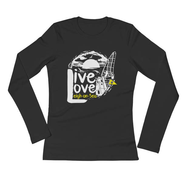 LIVE, LOVE, LEIGH-ON-SEA LADIES' LONG SLEEVE T-SHIRT (BLACK)
