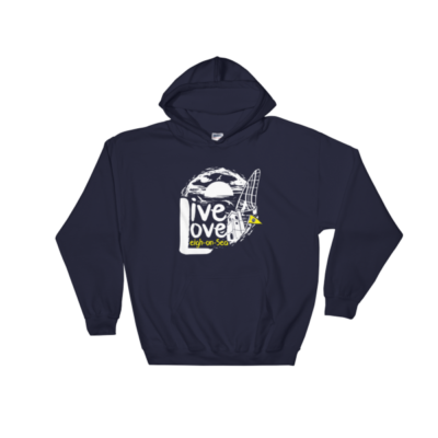 LIVE, LOVE, LEIGH-ON-SEA HOODED SWEATSHIRT NAVY BLUE