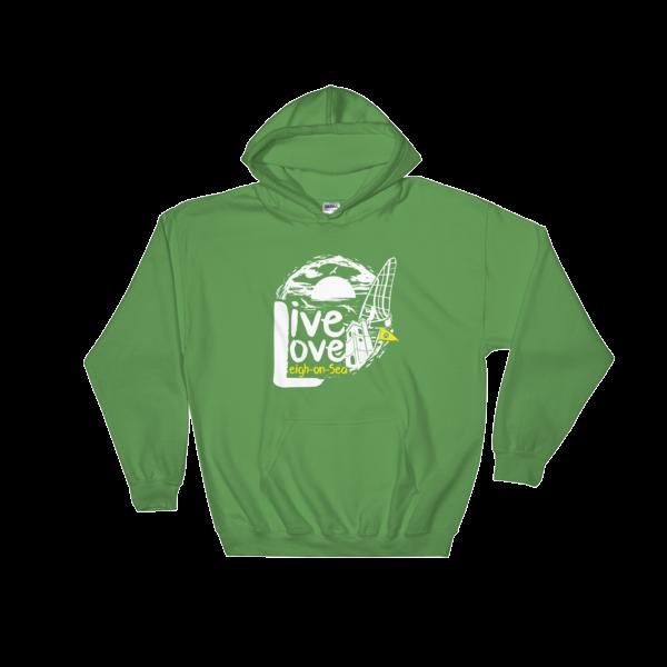 LIVE, LOVE, LEIGH-ON-SEA HOODED SWEATSHIRT IRISH GREEN