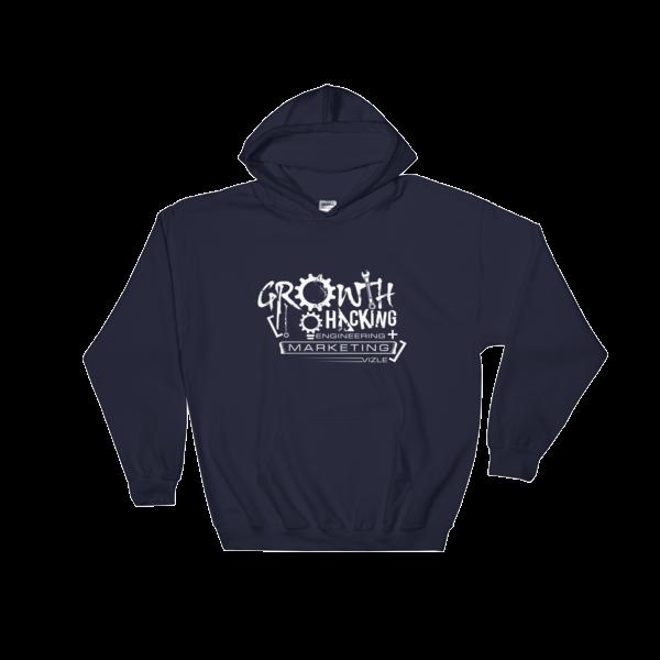 Growth Hacking = Engineering + Marketing Hooded Sweatshirt (Navy)