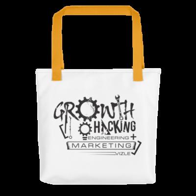 Growth Hacking = Engineering + Marketing Tote Bag (Yellow Handle)