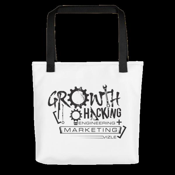 Growth Hacking = Engineering + Marketing Tote Bag (Black Handle)