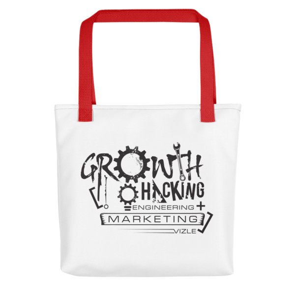 Growth Hacking = Engineering + Marketing Tote Bag (Red Handle)