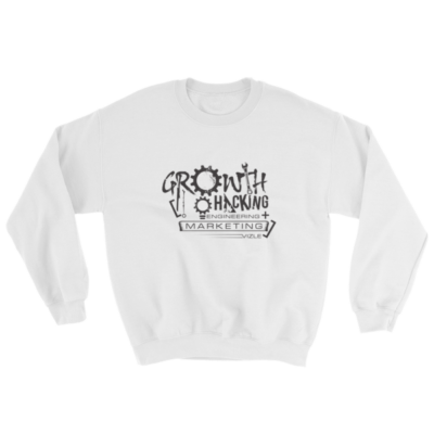 """Growth Hacking = Engineering + Marketing"" Sweatshirt (White)"