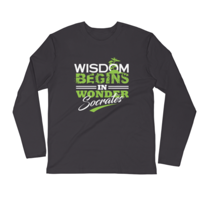 """Wisdom Begins in Wonder"" (Socrates) Long Sleeve T-Shirt (Heavy Metal)"