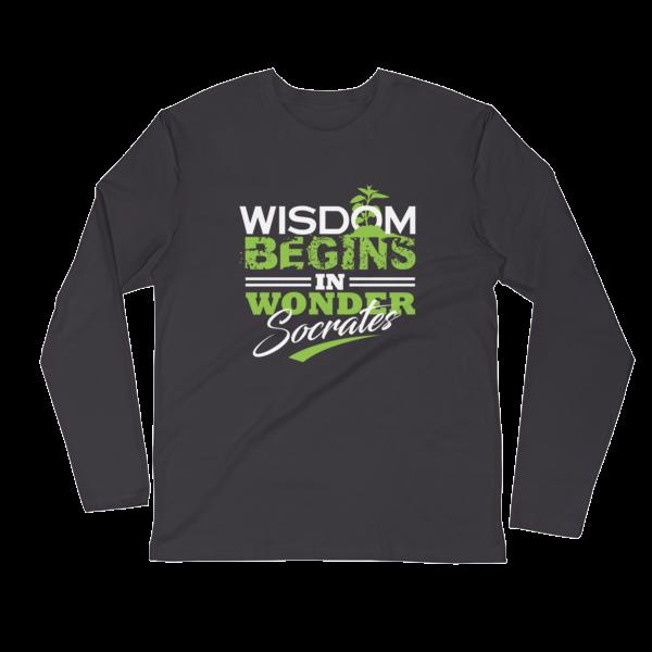 """""""Wisdom Begins in Wonder"""" (Socrates) Long Sleeve T-Shirt (Heavy Metal)"""