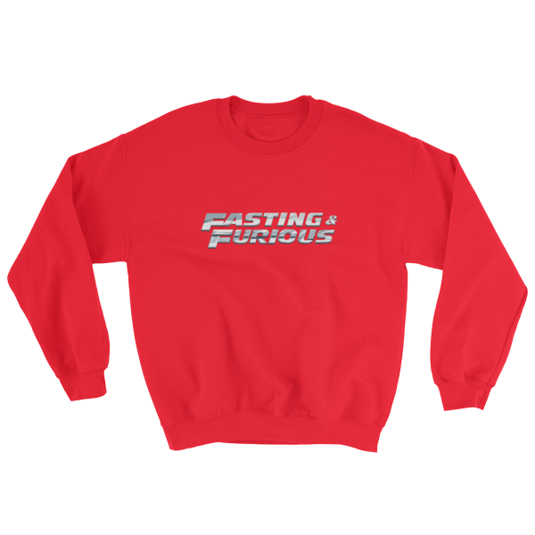 """Fasting & Furious"" Sweatshirt, Intermittent Fasting (IF) (Red)"