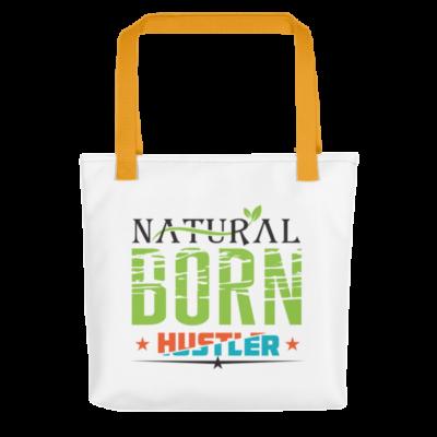 """Natural Born Hustler"" Tote Bag (Yellow Handle)"