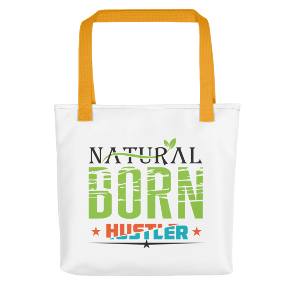 """Natural Born Hustler"" Tote Bag (Yellow Handle)"