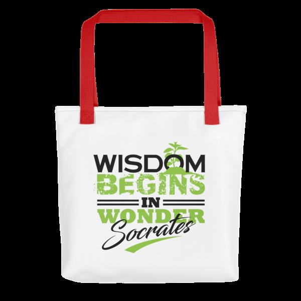 """""""Wisdom Begins in Wonder"""" Tote Bag (Red Handle)"""