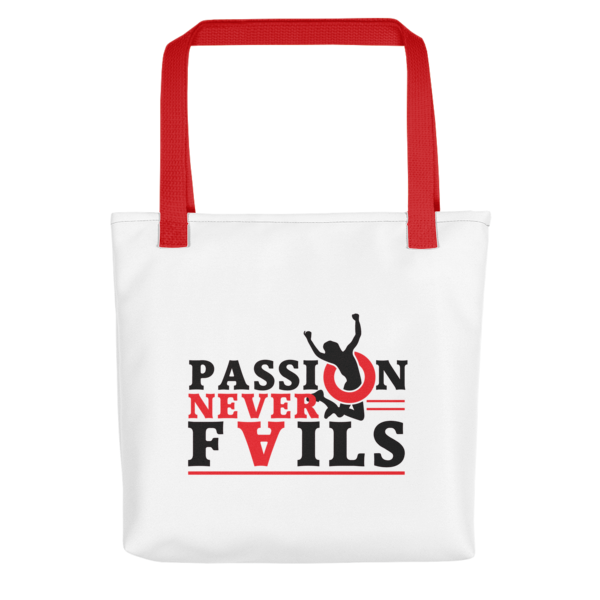 """Passion Never Fails"" Tote Bag (Red Handle)"