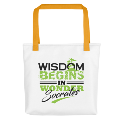 """Wisdom Begins in Wonder"" Tote Bag (Yellow Handle)"