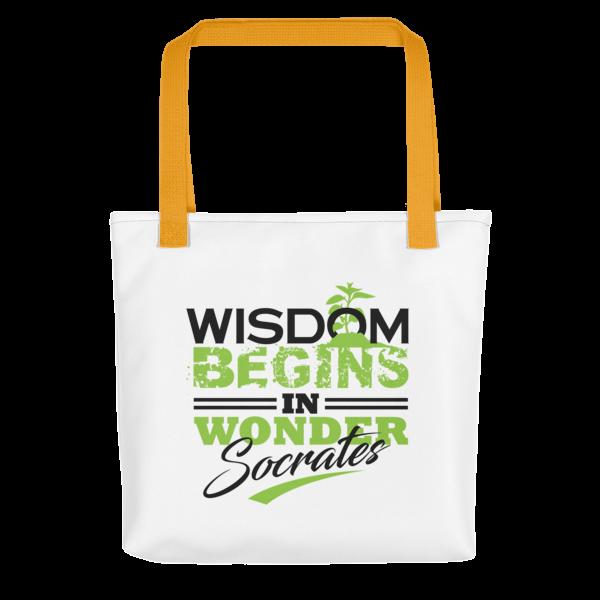 """Wisdom Begins in Wonder"" Tote Bag (Yellow Handle)"