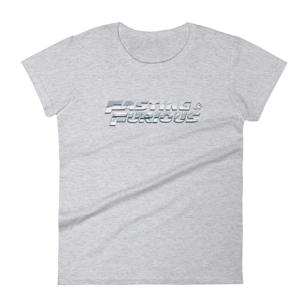 """Fasting & Furious"" Women's T-Shirt, Intermittent Fasting (IF) (Heather Grey)"