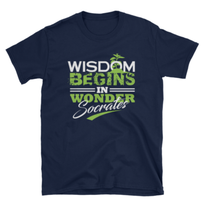 """Wisdom Begins in Wonder"" T-Shirt (Navy)"