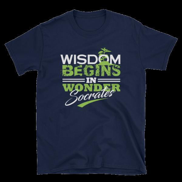 """""""Wisdom Begins in Wonder"""" T-Shirt (Navy)"""