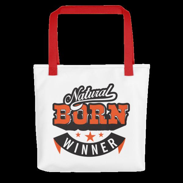 """""""Natural Born Winner"""" Tote Bag (Red Handle)"""