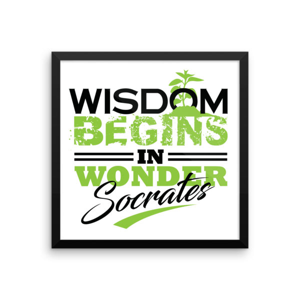 """Wisdom Begins in Wonder"" by Socrates Framed Poster"