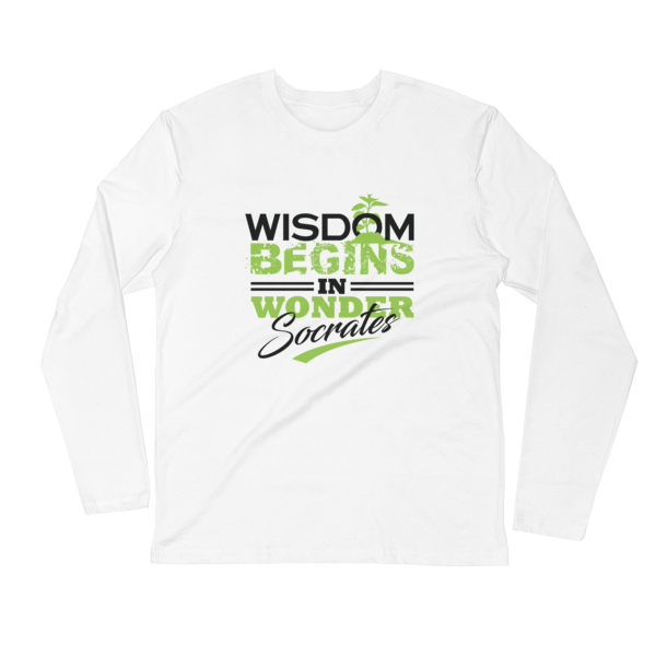 """Wisdom Begins in Wonder"" (Socrates) Long Sleeve T-Shirt (White)"