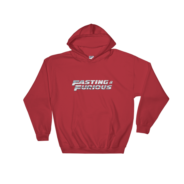 """Fasting & Furious"" Hoodie, Intermittent Fasting (IF) (Red)"