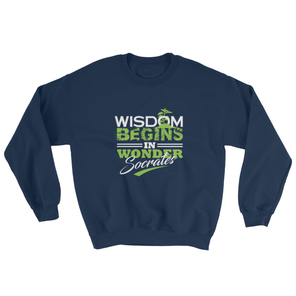 """Wisdom Begins in Wonder"" (Socrates) Sweatshirt (Navy)"