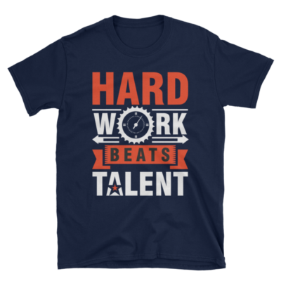 """Hard Work Beats Talent"" T-Shirt (Navy)"