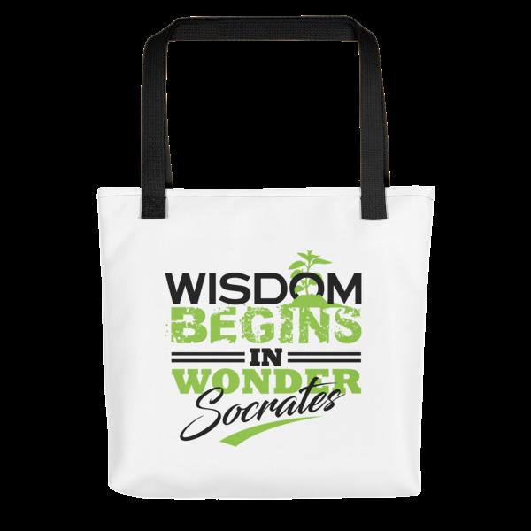 """""""Wisdom Begins in Wonder"""" Tote Bag (Black Handle)"""