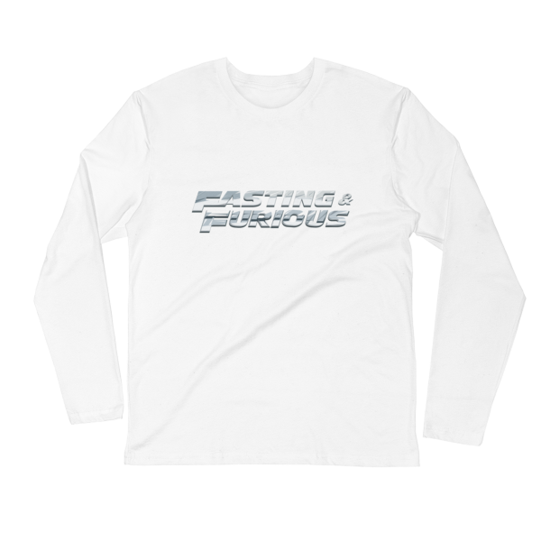 """Fasting & Furious"" Long Sleeve T-Shirt, Intermittent Fasting (IF) (White)"