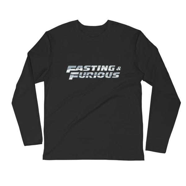 """Fasting & Furious"" Long Sleeve T-Shirt, Intermittent Fasting (IF) (Black)"