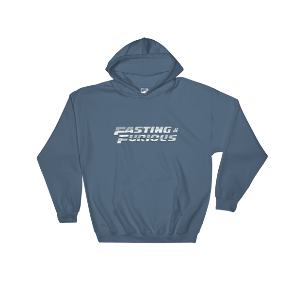 """Fasting & Furious"" Hoodie, Intermittent Fasting (IF) (Indigo Blue)"