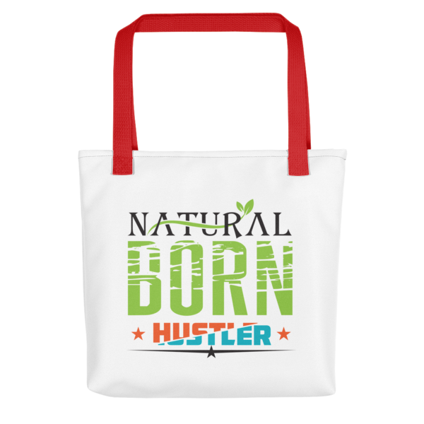 """Natural Born Hustler"" Tote Bag (Red Handle)"