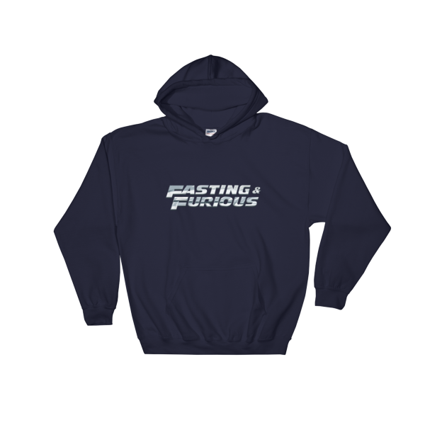 """Fasting & Furious"" Hoodie, Intermittent Fasting (IF) (Navy)"