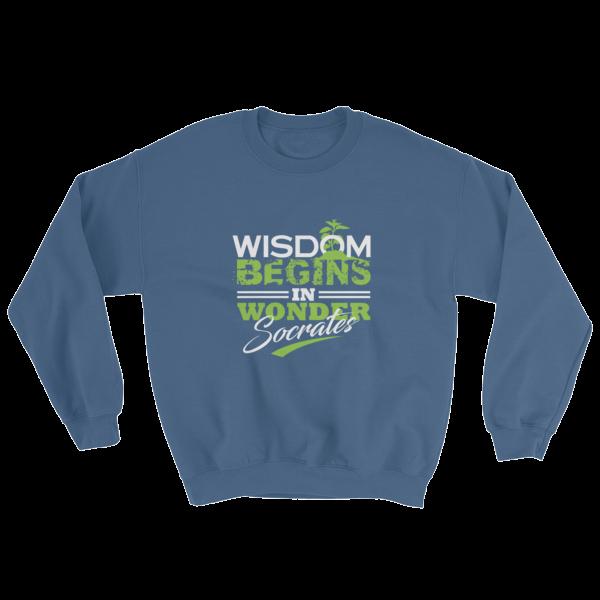 """""""Wisdom Begins in Wonder"""" (Socrates) Sweatshirt (Indigo Blue)"""
