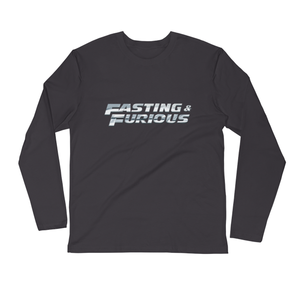 """Fasting & Furious"" Long Sleeve T-Shirt, Intermittent Fasting (IF) (Heavy Metal)"