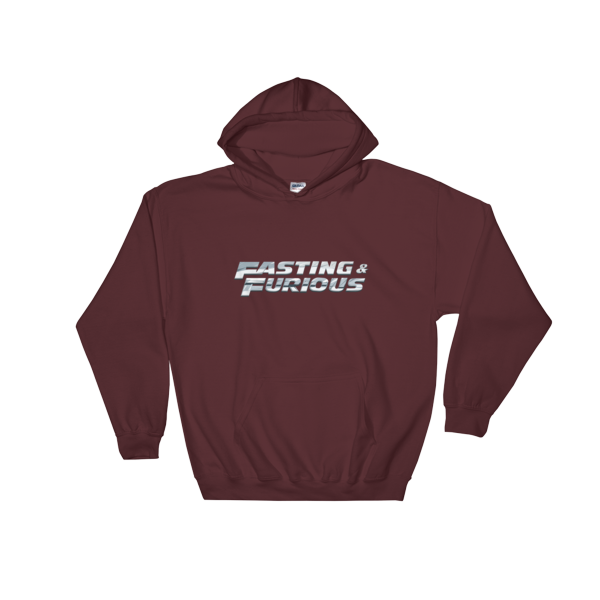 """Fasting & Furious"" Hoodie, Intermittent Fasting (IF) (Maroon)"