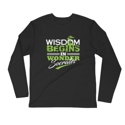 """Wisdom Begins in Wonder"" (Socrates) Long Sleeve T-Shirt (Black)"