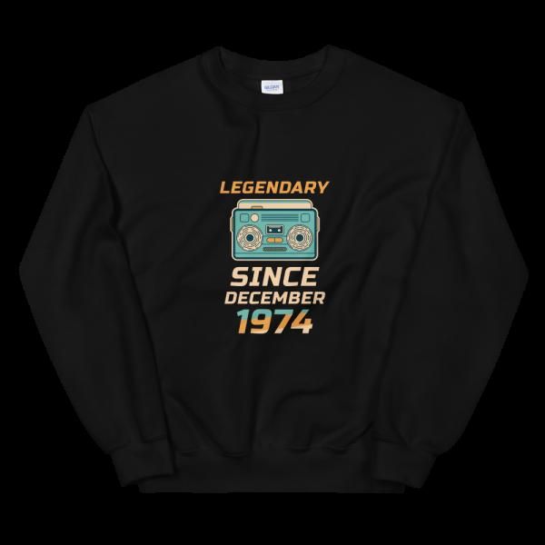 Legendary Since December 1974 Unisex Vintage Sweatshirt (Black)