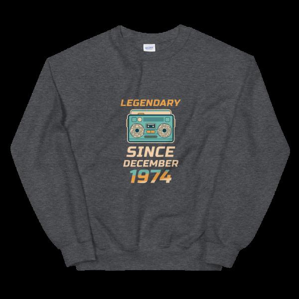 Legendary Since December 1974 Unisex Vintage Sweatshirt (Black Heather)