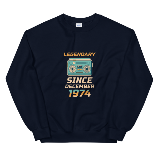 Legendary Since December 1974 Unisex Vintage Sweatshirt (Navy)